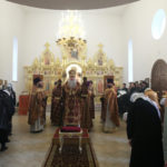 Божественная литургия в храме во имя святого благоверного князя Михаила Черниговского и боярина его Феодора на Увекском кладбище г. Саратова